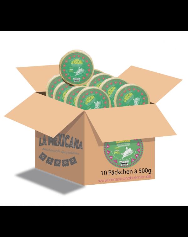 Karton 5 kg WEISSE MAISTORTILLAS LA MEXICANA (10 Pk. à 500 g)